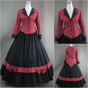 China Cosplay Civil War Dress Wholesale Red Plaid and Black Long Sleeves Gothic Victorian Dress Classic Vintage Lolita Dress on sale