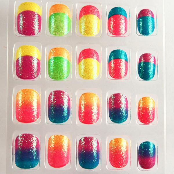 French Style Neon Fake Nails Gradient Full Cover Artificial Nail For ...