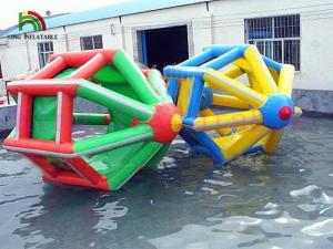 China Colorful 3 * 2.8m Blow Up Water Wheel PVC Tarpaulin Toy For Adult / Kids Summer Use on sale