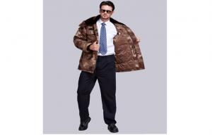 China Professional Winter Padded Brown Male Police Officer Costume With Fur Collar on sale