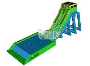 China Outdoor Giant Inflatable Water Slide For Event , Tall Drop Kick Water Slide With Platform on sale
