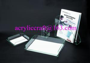 China Customized PMMA desk organizer acrylic notepad holder perspex pen holder file holder on sale