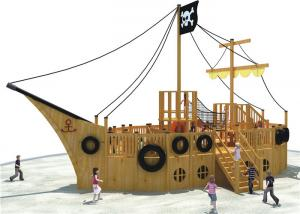 China Pirate Ship Theme Outdoor Playground Equipment Cool Wooden Playground Structure on sale