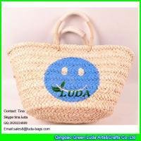 LUDA high quality lady shoper bag handmade smile face cornhusk straw shopping bag