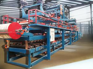 China Colored Steel Foamed Sandwich Panel Roll Forming Machine Hydraulic Cutting on sale