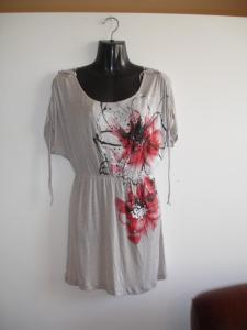 China Cotton Printing Flowers Short Sleeve Womens Sexy Dress With String on sale