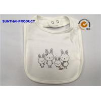 Rabbit Screen Print White Cotton Baby Bibs Single Layer Ring Snap For Closure