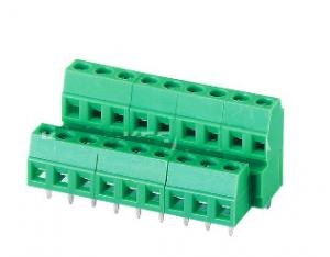 China 128B-3.5 3.81 Double Layer PCB Screw Terminal Block Green Plastic Material pcb terminal blocks pcb wire connector on sale