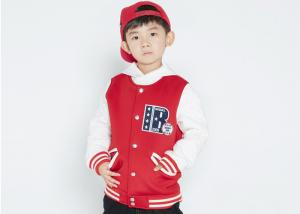 China Comfortable Kids Boys Clothes Children'S Baseball Jackets Patched EMB Contrast Rib Cuffs on sale