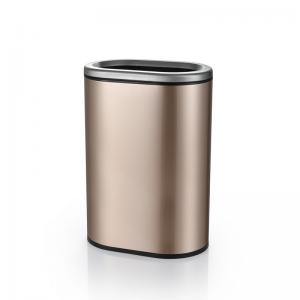 China Oval Touchless Stainless Steel Bathroom Trash Can on sale