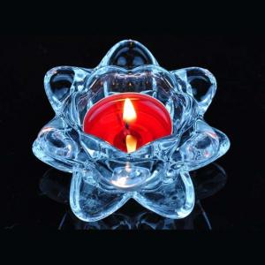 China Blue transparent crystal lotus glass candle holder supplier on sale