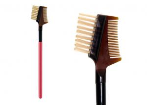 China Professional Private Label Eye Brow Brush Comb With Wooden Handle , Dual Ended on sale
