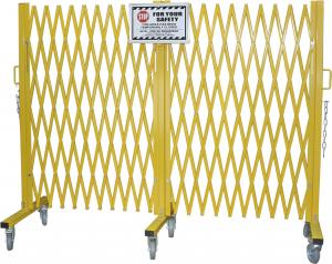 "China Yellow Folding Barrier Gate Accordion Safety Barriers Max Opening 20' X 52 ½"" High on sale"