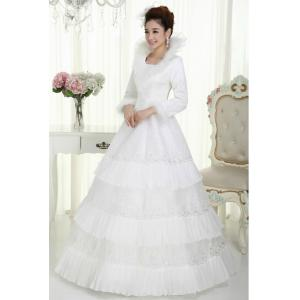 Slim Heart Shaped White Cotton Wedding Dresses Princess Gowns for ...
