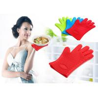 Waterproof Heat Resistant Household Mitt Red Silicone Oven Gloves With 5 Fingers