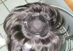 Peruca suíça cinzenta personalizada do fechamento da parte superior do laço, peruca chinesa do cabelo humano