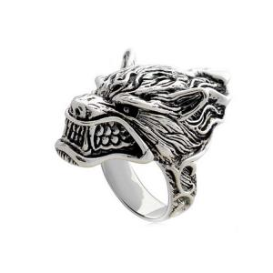 China Vintage Sterling Silver Wolf Caput Thailand 925 Silver Ring (R6030803) on sale