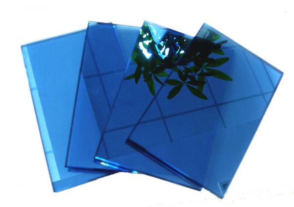 Blue Grey Pink Coloured Reflective Glass Sheet For Commercial Buildings Images