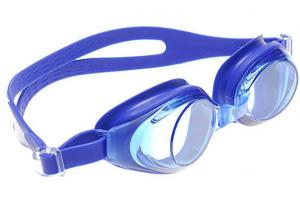 China Professional Custom Blue Rubber Silicone Swimming Goggles Products For Adult , Anti Fog / UV on sale