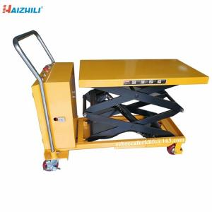 China Factory direct sell portable 350kg electric scissors lift table cart with 1500mm lifting height on sale