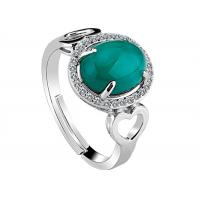 Handmade Customized Sterling Silver Jewelry Green Onxy Gemstone CZ Paved Ring For Lady