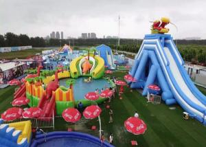 China Commercial Inflatable Water Slide Bounce House Pool Bouncer Park With Repair Kits on sale