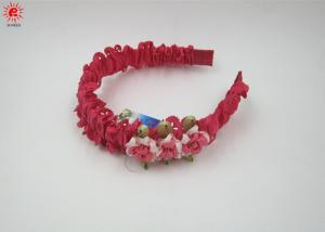 China Cute Beautiful Plastic Bow Hair Bands Women , Red Wedding Headbands on sale