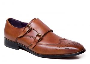 China Goodyear Welted Leather Soles Handmade Brown Double Monk Strap Mens Shoes on sale