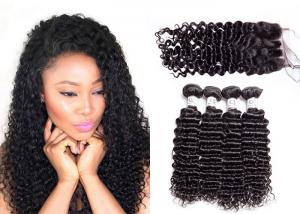 China Tangle Free Deep Curly Weave Bundles With Closure Can Be Ironed And Bleached on sale