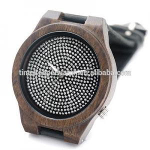 China Black Natural Bamboo Wooden Watch Genuine Brown Leather Strap Full Diamond Dial Japanese Quartz Movement Men Casual Watch on sale