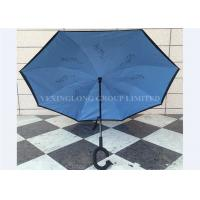 China Sturdy Double Layer Inverted Open & Close No Drip Umbrella With Design Inside on sale