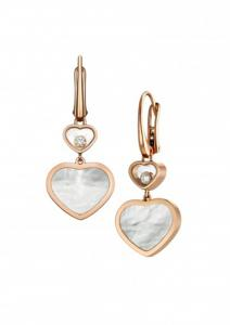 China Ladies Chopard Jewelry Happy Gold Heart Earrings 18K With Natural Diamonds Stone on sale