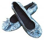 Discount Fake Snake Skin of Fold Up Ballet Flats for Women with Compact Carrying Tote Bag