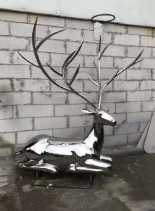 China 2020 China Stainless Steel Elk Wapiti Metal Sculptures For Garden Wall Art wholesale