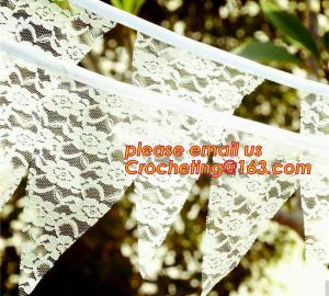 China Photo booth burlap banner wedding burlap lace banner, lace bunting banner vintage, rustic wedding banner on sale