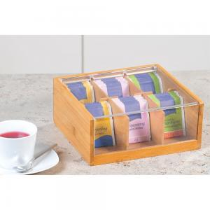 China OEM bamboo wooden tea storage box chest box with clear acrylic lid on sale