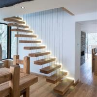 High quality wood stairs glass railing floating straight staircase