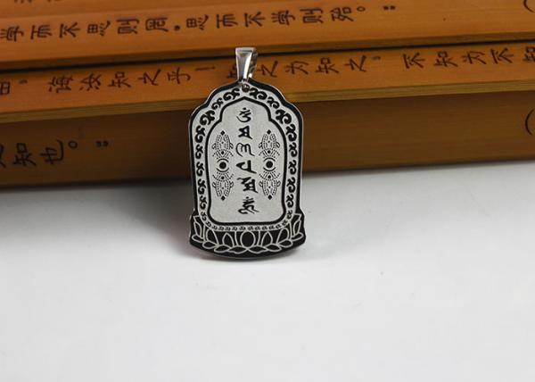 Custom Stainless Steel Buddhist Symbol Necklace With Antique