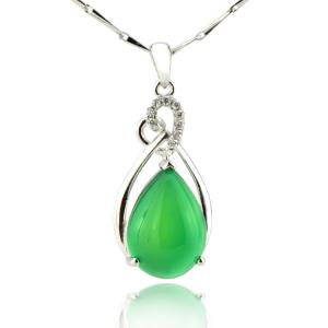 China best friend necklace ! Green chalcedony inlaid 925 sterling silver gemstone pendants ! on sale