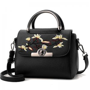 China Embroidered PU Women Leather Messenger Bag ,Hand Totes  Ladies Shoulder Bag With Zipper Hide Porket on sale