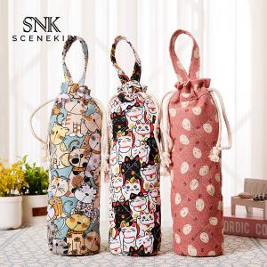 China Drawstring Vintage Flower Printing Cotton Wine Bottle Sleeve on sale