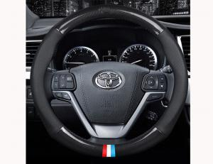 China Black Leather Steering Wheel Wrap , Car Accessories Steering Wheel Cover on sale