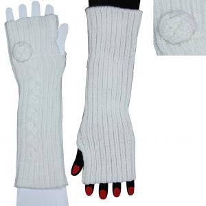 China 100% Acrylic White Fingerless Gloves Long Knitted Arm Warmer For Girls on sale