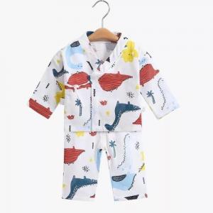 China Jacquard Muslin Baby Pajamas Sleepwear Long Sleeves 100 Cotton MBP 003 on sale