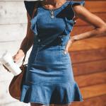 Ladies Denim Dress With Frill Skirt Women Slim Jeans Shirt Sleeveless Stock RTS-SKIRT-01
