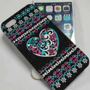China Heart Shape Denim Material Hot Press Cell Phone Cover Case on sale