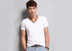 China White V Neck Mens T - Shirts Crease Resistant Not Deformed Five-Quarter Sleeve on sale