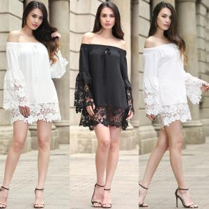 China sexy flounce off shoulder lace trim chiffon ladies' black and white  tops wholesale women blouse with elastic band on sale