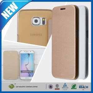 China Premium Leather Wallet Flip and Clear Hard Back Cover For Samsung Galaxy S6 Edge on sale