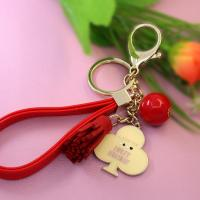 metal mobile phone key chain with bead